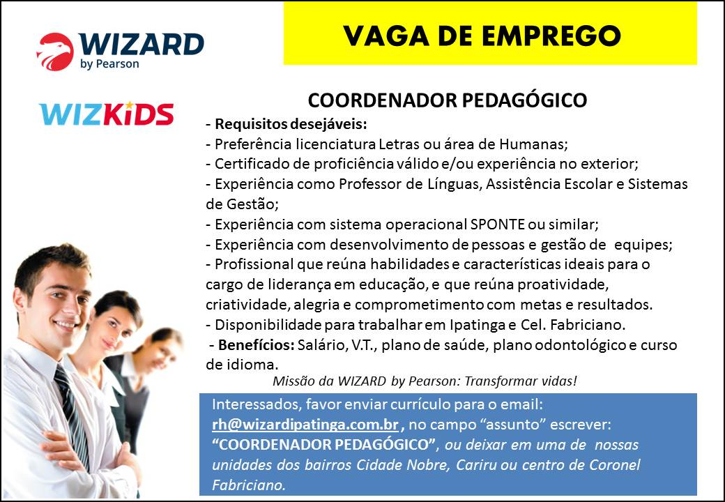 WIZARD - VAGA COORDENADOR PEDAG�GICO